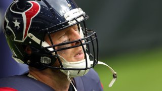 Defensive end J.J. Watt #99 of the Houston Texans warms up prior to the game against the Cincinnati Bengals at NRG Stadium on December 27, 2020 in Houston, Texas.