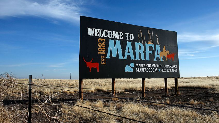 A Marfa sign is seen on the outskirts of town on December 25, 2012 in Marfa, Texas. Situated in West Texas, this town of just over 2000 residents has become a popular tourist destination.