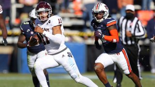 Kellen Mond #11 of the Texas A&M Aggies rushes against the Auburn Tigers during the second half at Jordan-Hare Stadium on Dec. 5, 2020 in Auburn, Alabama.