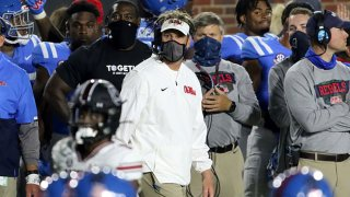 Ole Miss Rebels head coach Lane Kiffen during the game between the Ole Miss Rebels and the South Carolina Gamecocks on Nov. 14, 2020, at Vaught-Hemingway Stadium in Oxford, Mississippi.