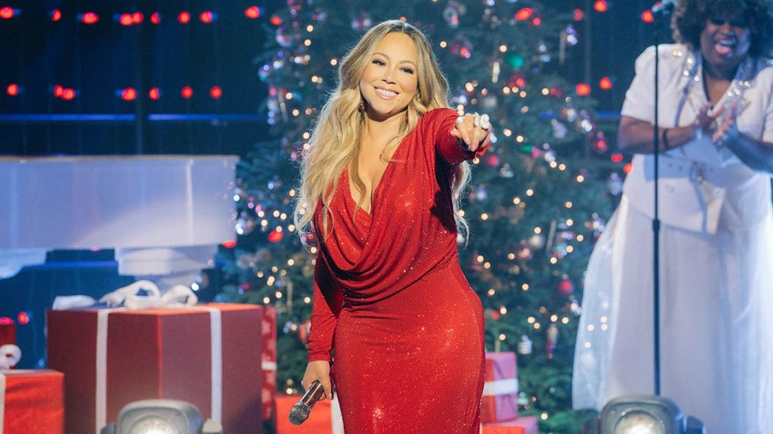 "Mariah Carey performs ""Oh Santa"" during The Late Late Show With James Corden, Dec. 17, 2019."