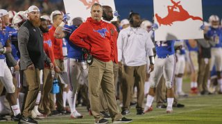 Southern Methodist Mustangs head coach Sonny Dykes looks on during the Frisco Bowl between SMU and Louisiana Tech on Dec. 20, 2017, at Toyota Stadium in Frisco, Texas.