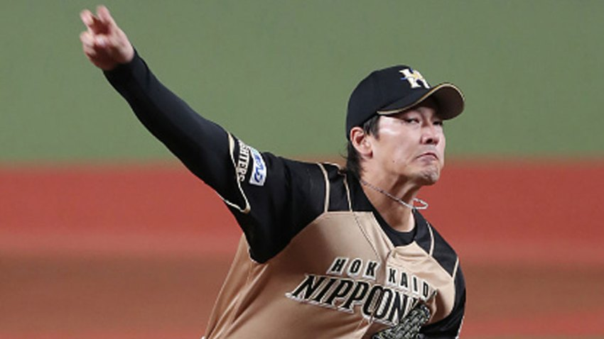 Nippon Ham starter Kohei Arihara pitches the ball during the Japanese professional baseball game between Seibu and Nippon Ham at the Metlife Dome in Tokorozawa, Saitama prefecture on June 19, 2020. Japan's professional baseball season began behind closed doors on June 19, three months after the originally scheduled start as the country gradually rolls back its anti-coronavirus measures.
