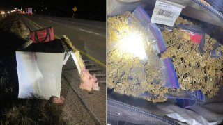 Police are investigating how a refrigerator loaded with marijuana ended up on Interstate 45 in southern Dallas County.