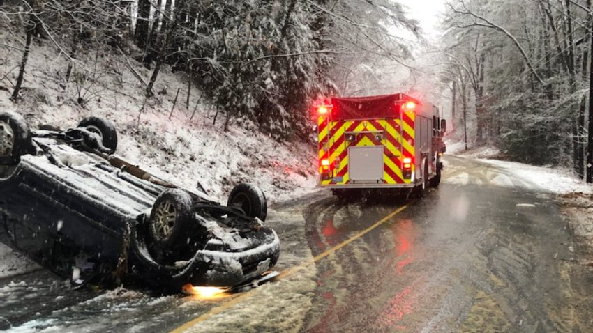 A car that crashed amid a nor'easter in Oakham, Massachusetts, on Saturday, Dec. 5, 2020.