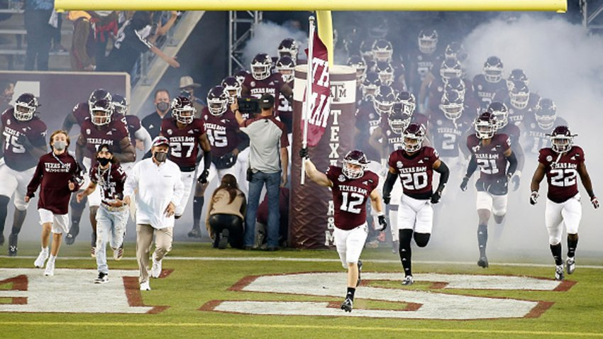 The Texas A&M Aggies take the field before the game against the Arkansas Razorbacks at Kyle Field on Oct. 31, 2020 in College Station, Texas.