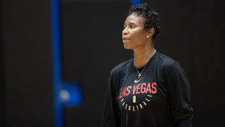 Vickie Johnson of the Las Vegas Aces at practice on Sept. 26, 2020 at IMG Academy in Bradenton, Florida.
