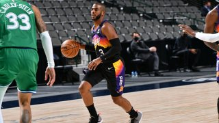 Chris Paul #3 of the Phoenix Suns dribbles the ball during the game against the Dallas Mavericks on Jan. 30, 2021 at the American Airlines Center in Dallas, Texas.