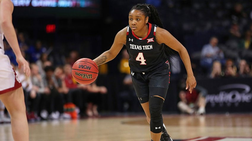 Texas Tech Red Raiders Guard Chrislyn Carr (04) dribbles during the BIG12 Women's basketball tournament between the Oklahoma Sooners and the Texas Tech Red Raiders on March 8, 2019, at the Chesapeake Energy Arena in Oklahoma City, Oklahoma.