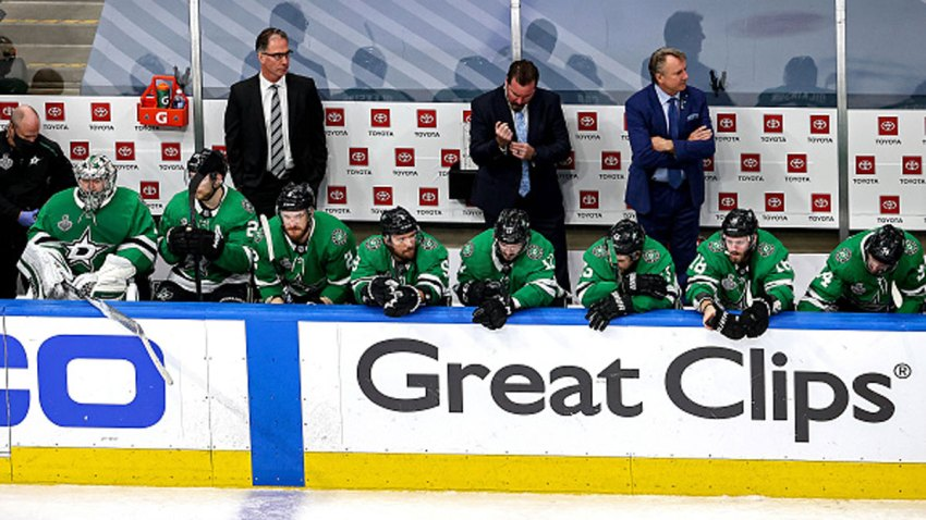 The Dallas Stars react to their 2-0 deficit late in the third against the Tampa Bay Lightning in Game Six of the 2020 NHL Stanley Cup Final at Rogers Place on Sept. 28, 2020 in Edmonton, Alberta, Canada.