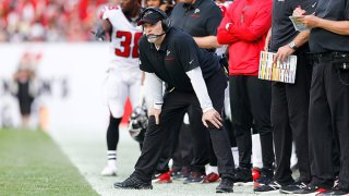 Head coach Dan Quinn of the Atlanta Falcons reacts against the Tampa Bay Buccaneers during the first half at Raymond James Stadium on Dec. 29, 2019 in Tampa, Florida.