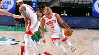 Eric Gordon #10 of the Houston Rockets dribbles the ball during the game against the Dallas Mavericks on Jan. 23, 2021 at the American Airlines Center in Dallas, Texas.