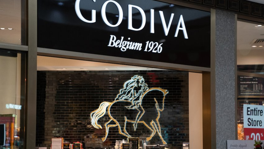 Products are seen in a Godiva chocolate store