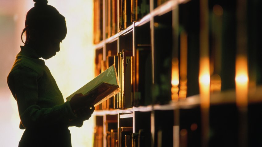 Girl 6-8 looking at a book next to a library shelf