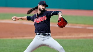 Relief pitcher Hunter Wood #44 of the Cleveland Indians delivers a pitch in the second inning of an intrasquad game during summer workouts at Progressive Field on July 12, 2020 in Cleveland, Ohio.