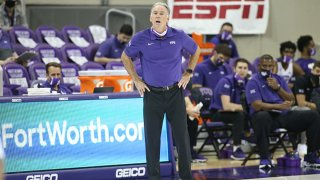 TCU Horned Frogs head coach Jamie Dixon gives direction during the game between TCU and North Dakota State on Dec. 22, 2020 at Ed & Rae Schollmaier Arena in Fort Worth, Texas.