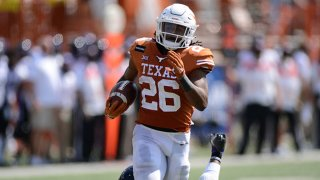 Texas Longhorn RB Keaontay Ingram runs for yardage during game featuring the TCU Horned Frogs and the Texas Longhorns on Oct. 3, 2020, at Darrell K Royal-Texas Memorial Stadium in Austin, Texas.