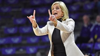 Head coach Kim Mulkey of the Baylor Bears instructs her team during the first half against the Kansas State Wildcats on Feb. 13, 2019 at Bramlage Coliseum in Manhattan, Kansas.