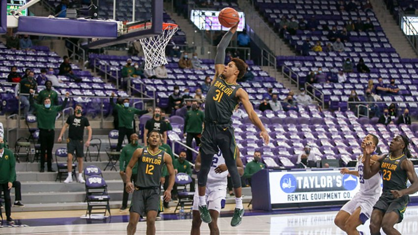 Baylor Bears guard MaCio Teague (31) goes to the basket during the game between TCU and Baylor on Jan. 9, 2021 at Ed & Rae Schollmaier Arena in Fort Worth, Texas.