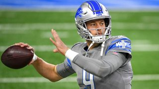 Matthew Stafford #9 of the Detroit Lions warms up before the game against the Tampa Bay Buccaneers at Ford Field on Dec. 26, 2020 in Detroit, Michigan.