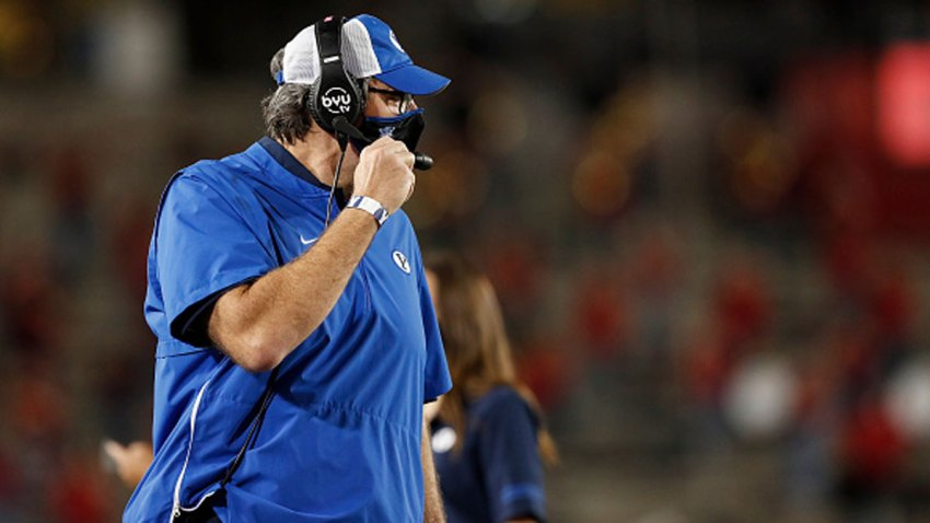 Offensive coordinator Jeff Grimes of the BYU Cougars reacts in the first half against the Houston Cougars at TDECU Stadium on Oct. 16, 2020 in Houston, Texas.