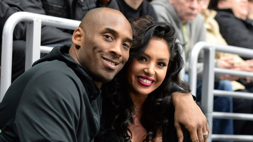In this March 9, 2016, file photo, Los Angeles Lakers Guard Kobe Bryant and his wife Vanessa Bryant pose for a photo during a game between the Los Angeles Kings and the Washington Capitals at STAPLES Center in Los Angeles, California.