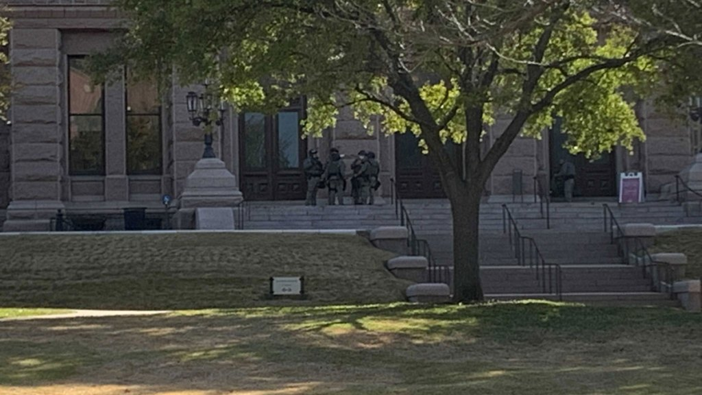 Texas Department of Public Safety state troopers outside the Capitol building in Austin, Texas on Saturday, Jan. 16, 2021.