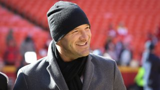 CBS broadcaster Tony Romo before the AFC Championship game between the Tennessee Titans and Kansas City Chiefs on Jan. 19, 2020 at Arrowhead Stadium in Kansas City, Missouri.