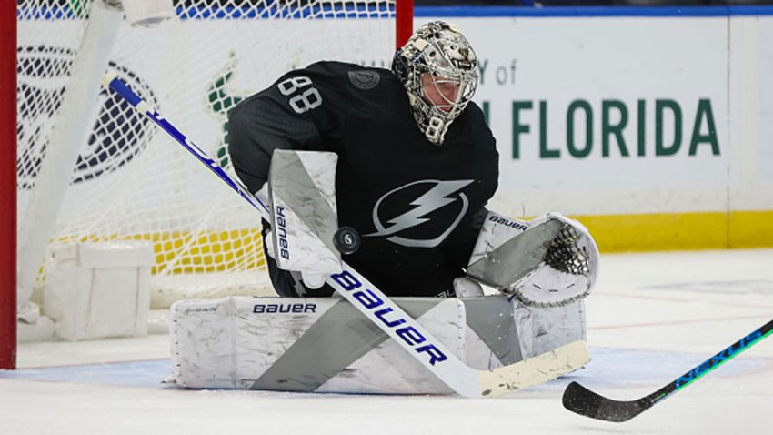 Goalie Andrei Vasilevskiy #88 of the Tampa Bay Lightning makes a save against the Dallas Stars during the third period at Amalie Arena on Feb. 27, 2021 in Tampa, Florida.