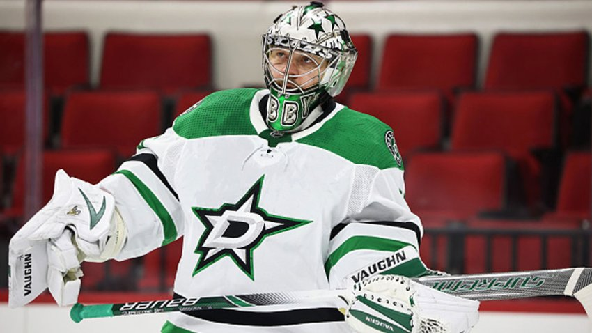 Anton Khudobin #35 of the Dallas Stars skates back toward the crease during an NHL game against the Carolina Hurricanes on Jan. 30, 2021 at PNC Arena in Raleigh, North Carolina.