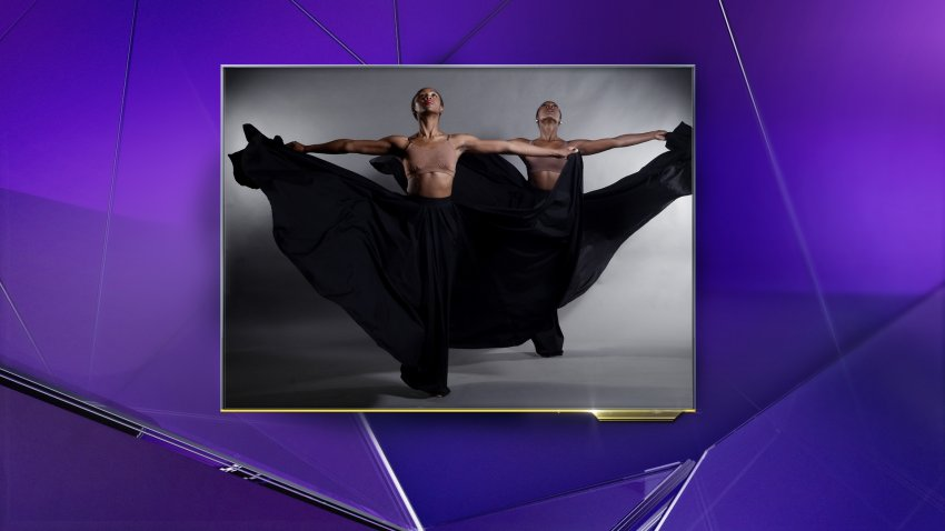 Two dancers from the Dallas Black Dance Theatre