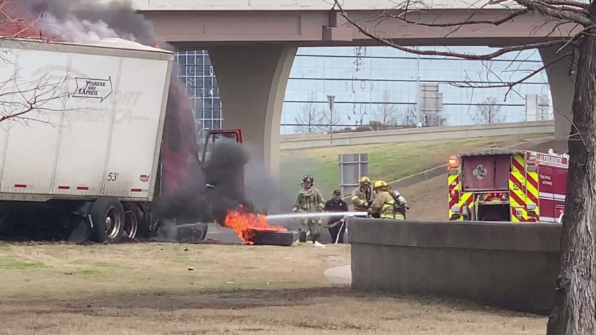 Three people was hospitalized in an accident involving an 18-wheeler and a vehicle on the Dallas North Tollway on Sunday, Feb. 28, 2021. (Courtesy/Dr. Paul Meggs)