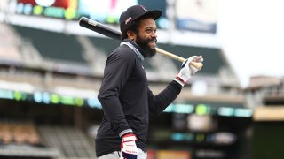 Delino DeShields #0 of the Cleveland Indians laughs prior to the game between the Cleveland Indians and the Minnesota Twins at Target Field on Saturday, Sept. 12, 2020 in Minneapolis, Minnesota.