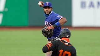 Elvis Andrus #1 of the Texas Rangers completes the double-play throwing over the top of Evan Longoria #10 of the San Francisco Giants in the bottom of the third inning at Oracle Park on Aug. 1, 2020 in San Francisco, California.