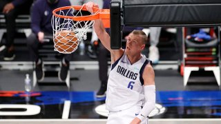 Kristaps Porzingis #6 of the Dallas Mavericks dunks during the first half against the Brooklyn Nets at Barclays Center on Feb. 27, 2021 in the Brooklyn borough of New York City.