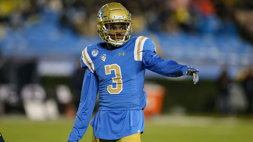 UCLA Bruins defensive back Rayshad Williams (3) points at the line judge to be onside during the college football game between the California Golden Bears and the UCLA Bruins on Nov. 30, 2019, at the Rose Bowl in Pasadena, California.