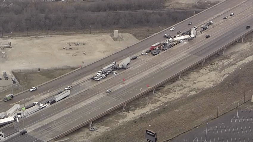 NBC 5's Texas Sky Ranger flew over the deadly vehicle pileup on I-35W in Fort Worth. Video shows multiple crashes along the highway and rescue efforts by fire and police.