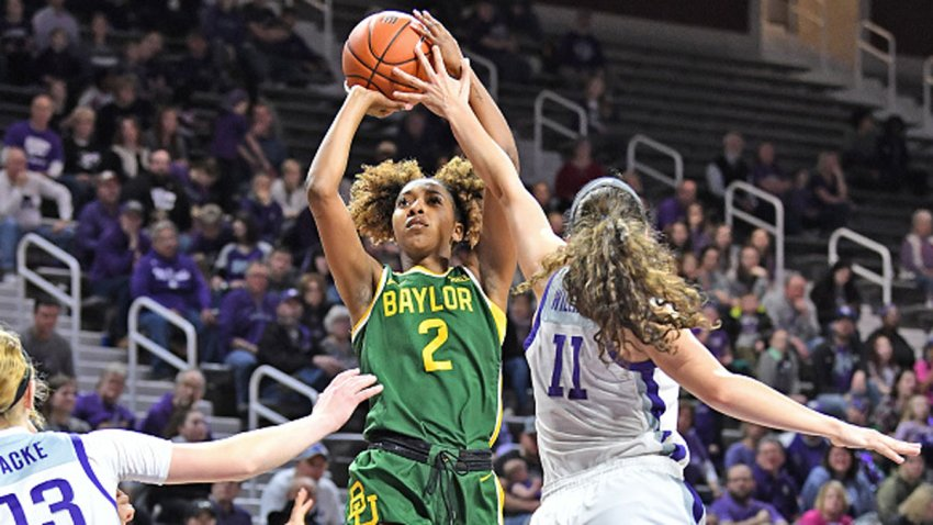DiDi Richards #2 of the Baylor Lady Bears puts up a shot against Peyton Williams #11 of the Kansas State Wildcats during the first quarter on Feb. 8, 2020 at Bramlage Coliseum in Manhattan, Kansas.