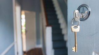 front door key in lock