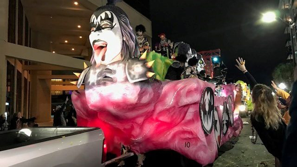 KISS-themed Mardi Gras float in downtown Mobile, Alabama