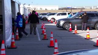What's said to be the largest vaccination drive-thru clinics in the state, and even in the country, opened Tuesday at Texas Motor Speedway for those with appointments.