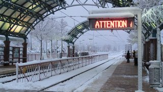 snow covered train station