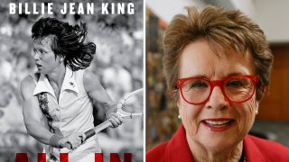 "This combination photo shows the cover of ""All In: An Autobiography"" by Billie Jean King, left, and King posing for a portrait"
