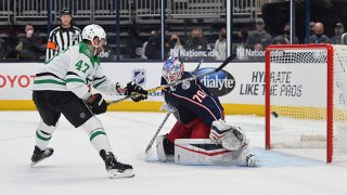 Alexander Radulov #47 of the Dallas Stars scores the game-winning shootout goal on goaltender Joonas Korpisalo #70 of the Columbus Blue Jackets at Nationwide Arena on March 14, 2021 in Columbus, Ohio. (Photo by BenAlexander Radulov #47 of the Dallas Stars scores the game-winning shootout goal on goaltender Joonas Korpisalo #70 of the Columbus Blue Jackets at Nationwide Arena on March 14, 2021 in Columbus, Ohio.