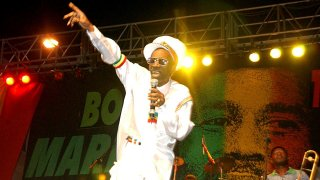FILE - In this Feb. 6, 2005 file photo, Bunny Wailer performs at the One Love concert to celebrate Bob Marley's 60th birthday, in Kingston, Jamaica.