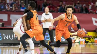 Oklahoma State Cowboys guard Cade Cunningham (2) brings the ball up court during the second half against the Oklahoma Sooners on Feb. 27, 2021 at Lloyd Noble Center in Norman Oklahoma.
