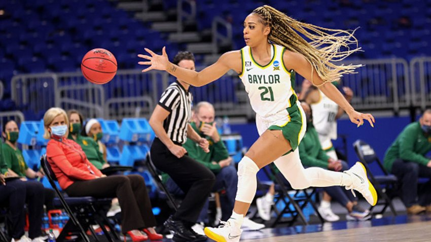 DiJonai Carrington #21 of the Baylor Lady Bears chases down a loose ball during the first half in the first round game of the 2021 NCAA Women's Basketball Tournament at the Alamodome on March 21, 2021 in San Antonio, Texas.