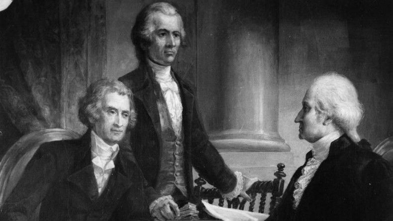 Black and white painting of Thomas Jefferson, Alexander Hamilton and George Washington