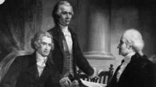 Black and white painting of Thomas Jefferson, Alexander Hamilton and George Washington