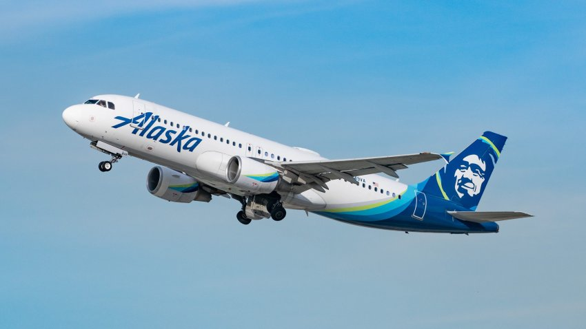 Alaska Airlines Airbus A320-214 takes off from Los Angeles international Airport on January 13, 2021 in Los Angeles, California.